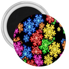 Colourful Snowflake Wallpaper Pattern 3  Magnets