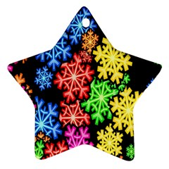 Colourful Snowflake Wallpaper Pattern Ornament (Star)