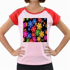Colourful Snowflake Wallpaper Pattern Women s Cap Sleeve T Shirt