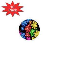 Colourful Snowflake Wallpaper Pattern 1  Mini Buttons (10 pack)
