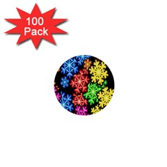 Colourful Snowflake Wallpaper Pattern 1  Mini Buttons (100 pack)