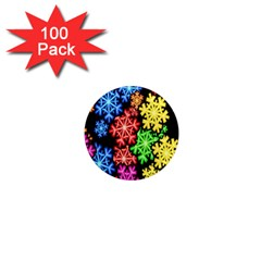Colourful Snowflake Wallpaper Pattern 1  Mini Magnets (100 Pack)