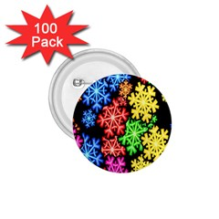 Colourful Snowflake Wallpaper Pattern 1.75  Buttons (100 pack)