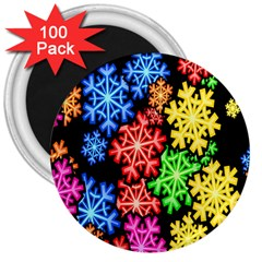 Colourful Snowflake Wallpaper Pattern 3  Magnets (100 pack)