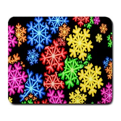 Colourful Snowflake Wallpaper Pattern Large Mousepads