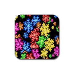 Colourful Snowflake Wallpaper Pattern Rubber Square Coaster (4 Pack)