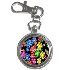 Colourful Snowflake Wallpaper Pattern Key Chain Watches