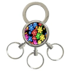 Colourful Snowflake Wallpaper Pattern 3-Ring Key Chains