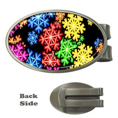 Colourful Snowflake Wallpaper Pattern Money Clips (Oval)
