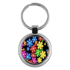 Colourful Snowflake Wallpaper Pattern Key Chains (round)