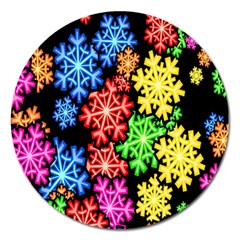 Colourful Snowflake Wallpaper Pattern Magnet 5  (Round)