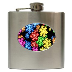 Colourful Snowflake Wallpaper Pattern Hip Flask (6 oz)