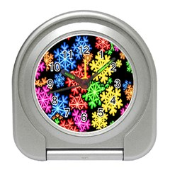 Colourful Snowflake Wallpaper Pattern Travel Alarm Clocks