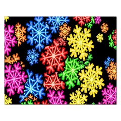 Colourful Snowflake Wallpaper Pattern Rectangular Jigsaw Puzzl