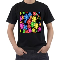 Colourful Snowflake Wallpaper Pattern Men s T-Shirt (Black) (Two Sided)