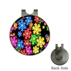 Colourful Snowflake Wallpaper Pattern Hat Clips with Golf Markers