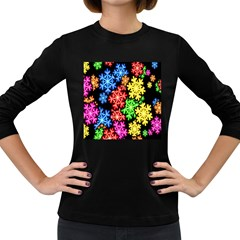 Colourful Snowflake Wallpaper Pattern Women s Long Sleeve Dark T Shirts