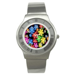 Colourful Snowflake Wallpaper Pattern Stainless Steel Watch