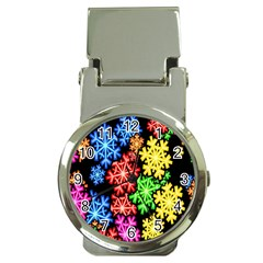 Colourful Snowflake Wallpaper Pattern Money Clip Watches