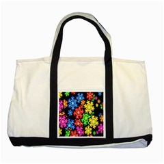 Colourful Snowflake Wallpaper Pattern Two Tone Tote Bag