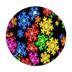 Colourful Snowflake Wallpaper Pattern Round Ornament (Two Sides)
