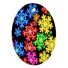Colourful Snowflake Wallpaper Pattern Oval Ornament (Two Sides)