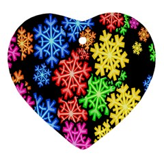 Colourful Snowflake Wallpaper Pattern Heart Ornament (two Sides)