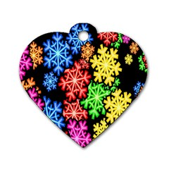 Colourful Snowflake Wallpaper Pattern Dog Tag Heart (one Side)
