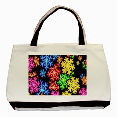 Colourful Snowflake Wallpaper Pattern Basic Tote Bag (Two Sides)