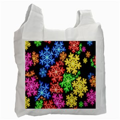 Colourful Snowflake Wallpaper Pattern Recycle Bag (Two Side)