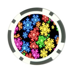 Colourful Snowflake Wallpaper Pattern Poker Chip Card Guard (10 pack)