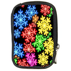 Colourful Snowflake Wallpaper Pattern Compact Camera Cases
