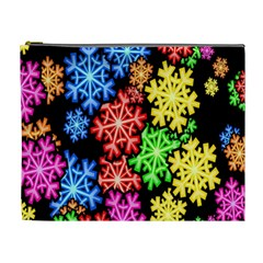 Colourful Snowflake Wallpaper Pattern Cosmetic Bag (XL)
