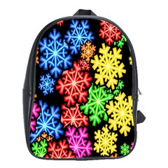 Colourful Snowflake Wallpaper Pattern School Bags(large)