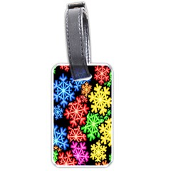 Colourful Snowflake Wallpaper Pattern Luggage Tags (One Side)