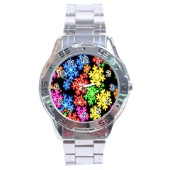 Colourful Snowflake Wallpaper Pattern Stainless Steel Analogue Watch