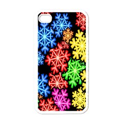 Colourful Snowflake Wallpaper Pattern Apple Iphone 4 Case (white)