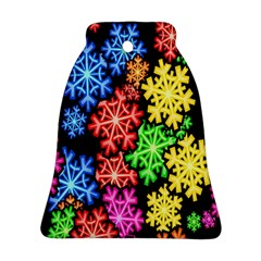 Colourful Snowflake Wallpaper Pattern Bell Ornament (two Sides)