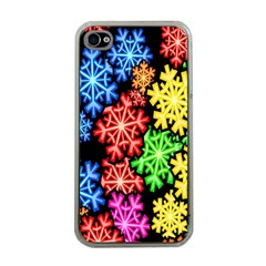 Colourful Snowflake Wallpaper Pattern Apple iPhone 4 Case (Clear)