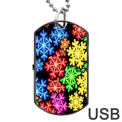 Colourful Snowflake Wallpaper Pattern Dog Tag USB Flash (Two Sides)
