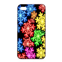 Colourful Snowflake Wallpaper Pattern Apple Iphone 4/4s Seamless Case (black)