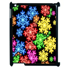 Colourful Snowflake Wallpaper Pattern Apple iPad 2 Case (Black)