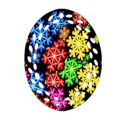 Colourful Snowflake Wallpaper Pattern Oval Filigree Ornament (Two Sides)