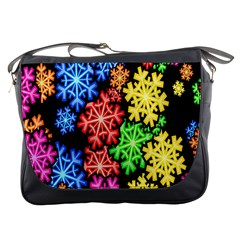 Colourful Snowflake Wallpaper Pattern Messenger Bags