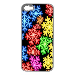 Colourful Snowflake Wallpaper Pattern Apple iPhone 5 Case (Silver)