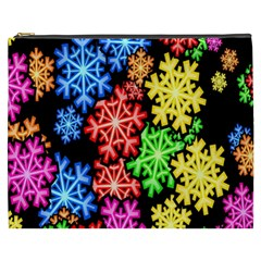Colourful Snowflake Wallpaper Pattern Cosmetic Bag (XXXL)