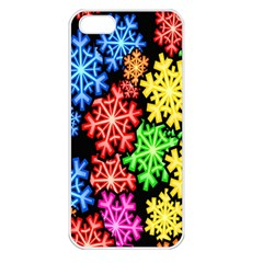 Colourful Snowflake Wallpaper Pattern Apple iPhone 5 Seamless Case (White)