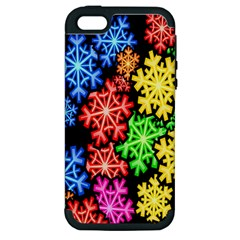 Colourful Snowflake Wallpaper Pattern Apple iPhone 5 Hardshell Case (PC+Silicone)
