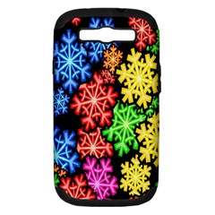 Colourful Snowflake Wallpaper Pattern Samsung Galaxy S Iii Hardshell Case (pc+silicone)