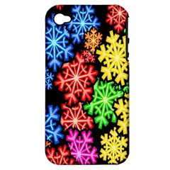 Colourful Snowflake Wallpaper Pattern Apple iPhone 4/4S Hardshell Case (PC+Silicone)